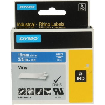 "Dymo Rhino 3/4"" Blue Vinyl Labels (White Print)"