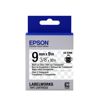 Epson Label Cartridge Transparent LK-3TBN Clear Black/Clear 9mm (9m)