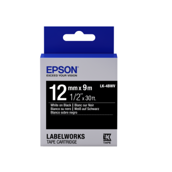 Epson Label Cartridge Vivid LK-4BWV White/Black Label Tape 12mm (9m)