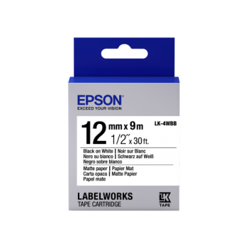 Epson Label Cartridge Matte Paper LK-4WBB Black/White 12mm (9m)