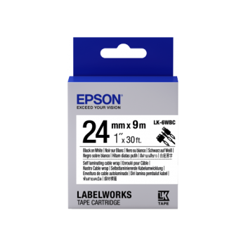 Epson Label Cartridge Cable Wrap LK-6WBC Black/White 24mm (9m)
