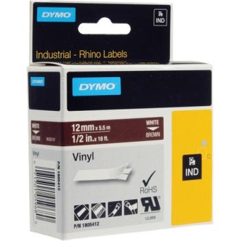 "Dymo Rhino 1/2"" Brown Vinyl Labels (White Print)"