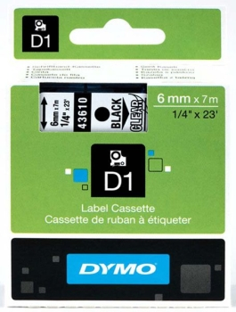 Dymo S0720770 D1 Tape 6mm Black on Clear