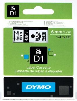 Dymo S0720780 D1 Tape 6mm Black on White