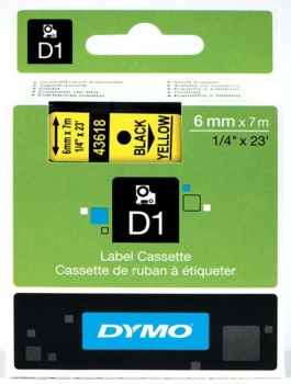 Dymo S0720790 D1 Tape 6mm Black on Yellow