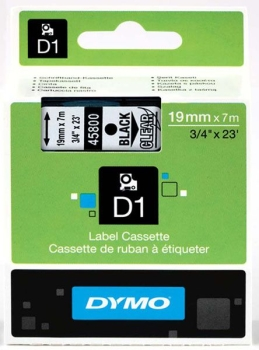 Dymo S0720820 D1 Tape 19mm Black on Clear