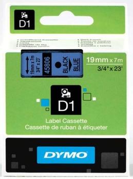 Dymo S0720860 D1 Tape 19mm Black on Blue