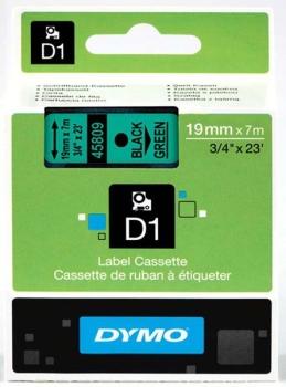 Dymo S0720890 D1 Tape 19mm Black on Green