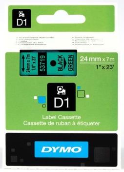 Dymo S0720990 D1 Tape 24mm Black on Green