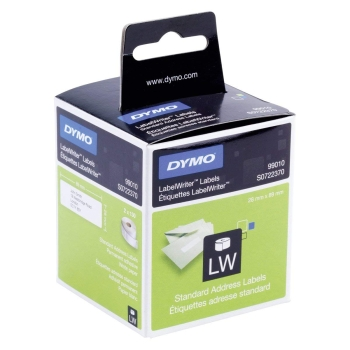 Dymo S0722370 Self-Adhesive Labels 89mm x 28mm - Black on White
