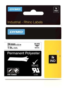 Dymo Rhino S0773830 24mm White 6000 Permanent Polyester Tape