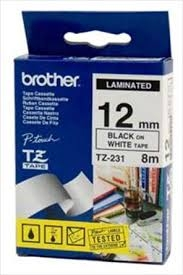 Brother TZ-231  Black / White P-touch Tape 12mm